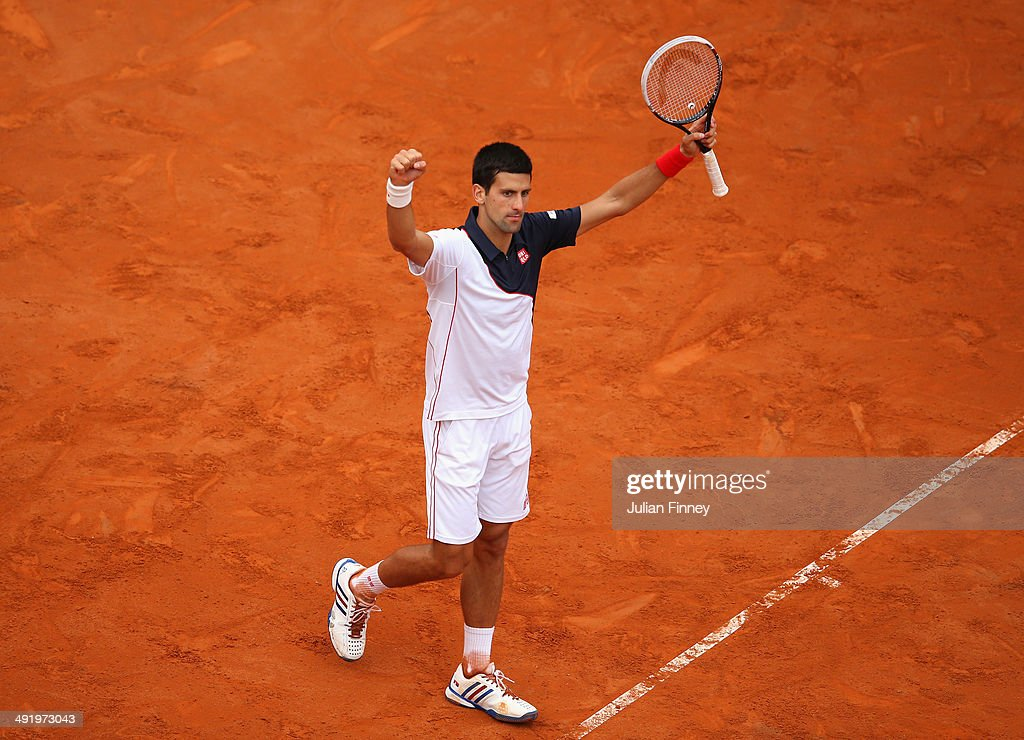 Novak Djokovic of Serbia celebrates at match point as he defeated Rafael Nadal of Spain in the final during day eight of the Internazionali BNL d'Italia tennis 2014 on May 18, 2014 in Rome, Italy.