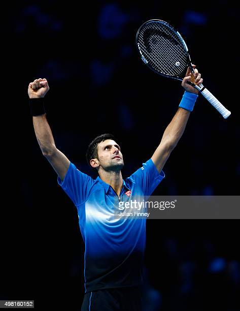 Novak Djokovic of Serbia celebrates defeating Rafael Nadal of Spain in the semi final during the Barclays ATP World Tour Finals on Day Seven at O2...