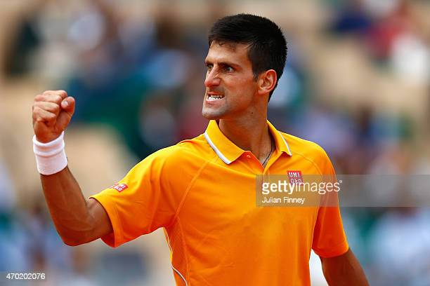 Novak Djokovic of Serbia celebrates defeating Rafaerl Nadal of Spain in the semi finals during day seven of the Monte Carlo Rolex Masters tennis at...