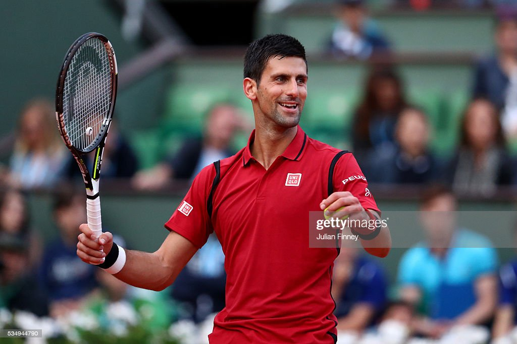 Novak Djokovic of Serbia celebrates during the Men's Singles third round match against Aljaz Bedene of Great Britain on day seven of the 2016 French Open at Roland Garros on May 28, 2016 in Paris, France.