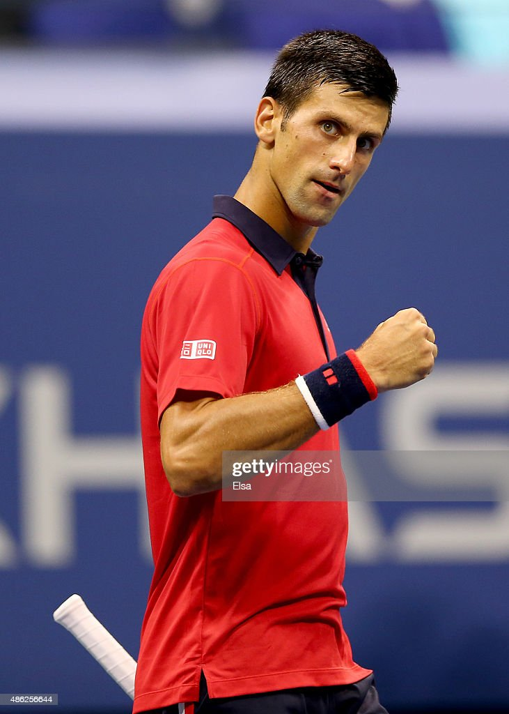 Novak Djokovic of Serbia celebrates his first set win over Andreas Haider-Maurer of Austria on Day Three of the 2015 US Open at the USTA Billie Jean King National Tennis Center on September 2, 2015 in the Flushing neighborhood of the Queens borough of New York City.