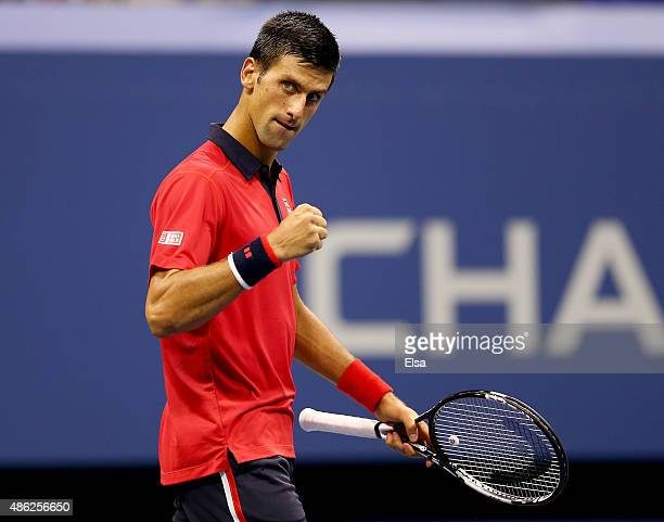 Novak Djokovic of Serbia celebrates his first set win over Andreas HaiderMaurer of Austria on Day Three of the 2015 US Open at the USTA Billie Jean...