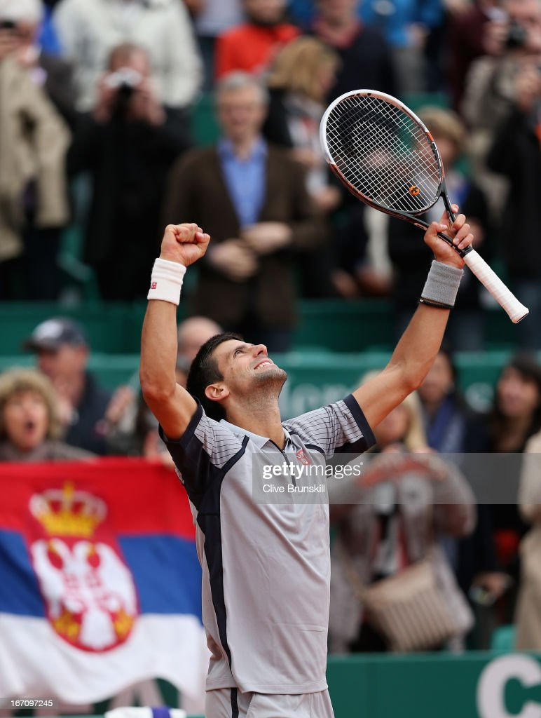 <a gi-track='captionPersonalityLinkClicked' href=/galleries/search?phrase=Novak+Djokovic&family=editorial&specificpeople=588315 ng-click='$event.stopPropagation()'>Novak Djokovic</a> of Serbia celebrates his straight sets victory against Fabio Fognini of Italy in their semi final match during day seven of the ATP Monte Carlo Masters,at Monte-Carlo Sporting Club on April 20, 2013 in Monte-Carlo, Monaco.