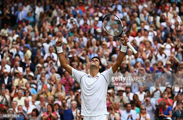 Novak Djokovic of Serbia celebrates his victory after winning the Final Of The Gentlemen's Singles against Roger Federer of Switzerland on day...