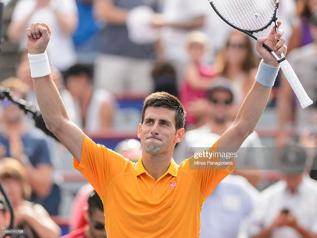 Novak Djokovic of Serbia celebrates his victory against Jeremy Chardy of France during day six of the Rogers Cup at Uniprix Stadium on August 15 2015...