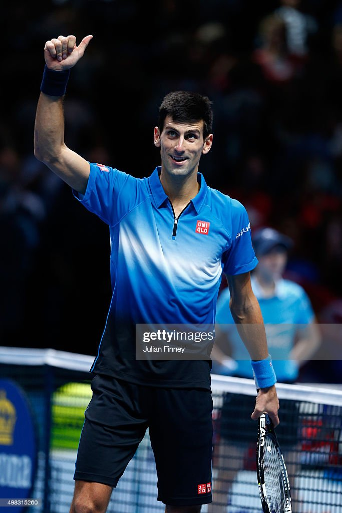 Novak Djokovic of Serbia celebrates his victory during the men's singles final against Roger Federer of Switzerland on day eight of the Barclays ATP World Tour Finals at the O2 Arena on November 22, 2015 in London, England.