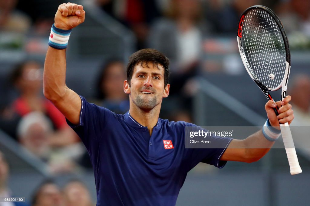 Novak Djokovic of Serbia celebrates his victory over Feliciano Lopez of Spain on day six of the Mutua Madrid Open tennis at La Caja Magica on May 11, 2017 in Madrid, Spain.