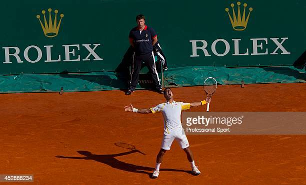 Novak Djokovic of Serbia celebrates his victory over Rafael Nadal of Spain in the mens final at the Rolex Masters in Monte Carlo 2013