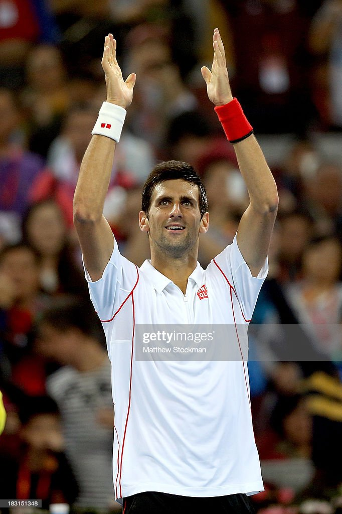 <a gi-track='captionPersonalityLinkClicked' href=/galleries/search?phrase=Novak+Djokovic&family=editorial&specificpeople=588315 ng-click='$event.stopPropagation()'>Novak Djokovic</a> of Serbia celebrates his win over Richard Gasquet of France during the semifinals of the 2013 China Open at the National Tennis Center on October 5, 2013 in Beijing, China.