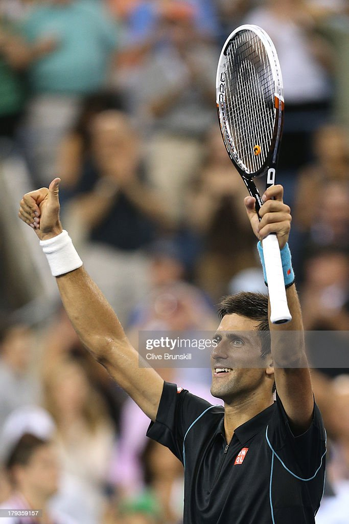 <a gi-track='captionPersonalityLinkClicked' href=/galleries/search?phrase=Novak+Djokovic&family=editorial&specificpeople=588315 ng-click='$event.stopPropagation()'>Novak Djokovic</a> of Serbia celebrates match point against Joao Sousa of Portugal during the third round match on Day Seven of the 2013 US Open at USTA Billie Jean King National Tennis Center on September 1, 2013 in the Flushing neighborhood of the Queens borough of New York City.