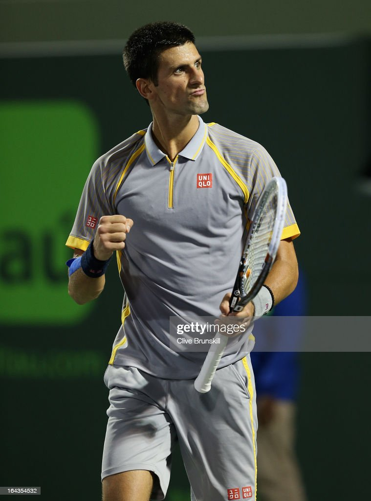Novak Djokovic of Serbia celebrates match point against Lukas Rosol of Czech Republic during their second round match at the Sony Open at Crandon Park Tennis Center on March 22, 2013 in Key Biscayne, Florida.