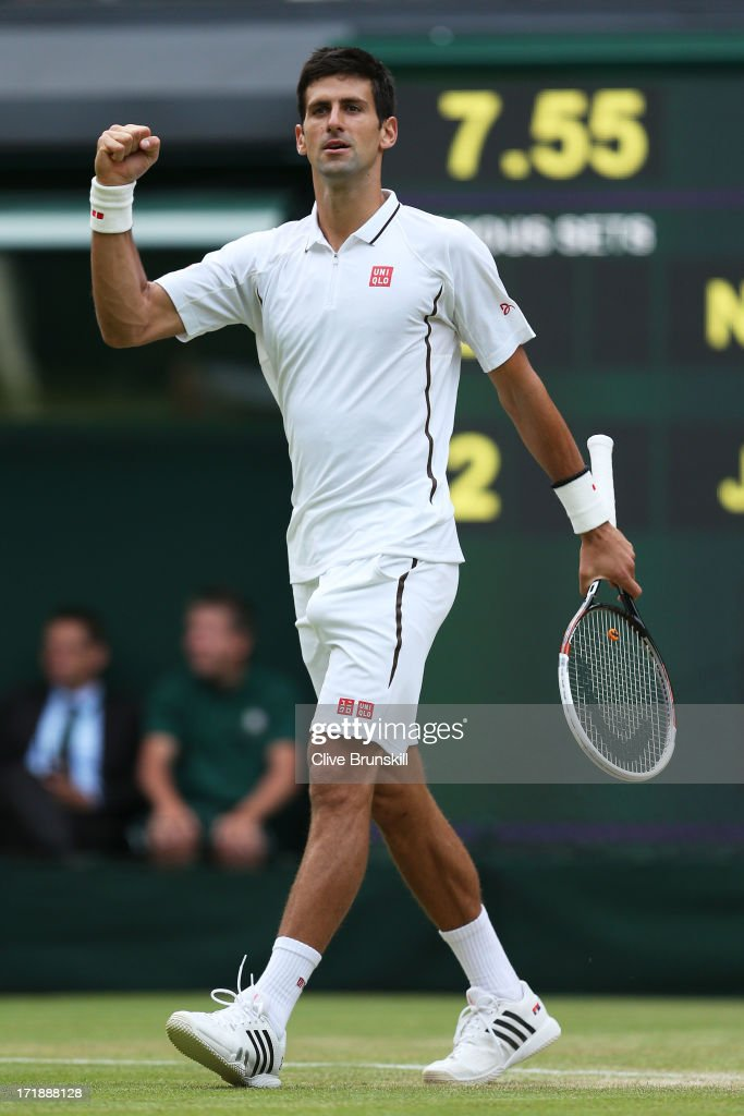 <a gi-track='captionPersonalityLinkClicked' href=/galleries/search?phrase=Novak+Djokovic&family=editorial&specificpeople=588315 ng-click='$event.stopPropagation()'>Novak Djokovic</a> of Serbia celebrates match point during the Gentlemen's Singles third round match against Jeremy Chardy of France on day six of the Wimbledon Lawn Tennis Championships at the All England Lawn Tennis and Croquet Club on June 29, 2013 in London, England.