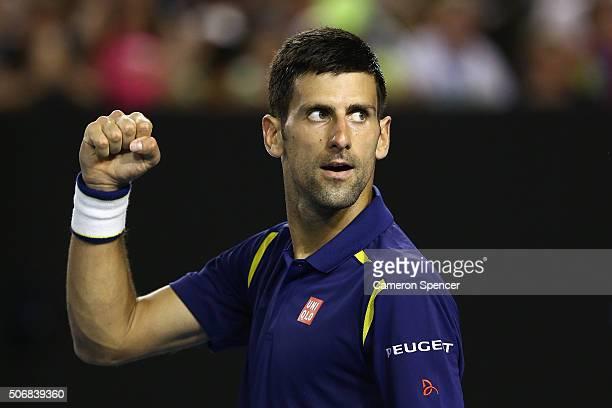 Novak Djokovic of Serbia celebrates match point in his quarter final match against Kei Nishikori of Japan during day nine of the 2016 Australian Open...