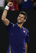 Novak Djokovic of Serbia celebrates match point in his quarter final match against Kei Nishikori of Japan during day nine of the 2016 Australian Open...