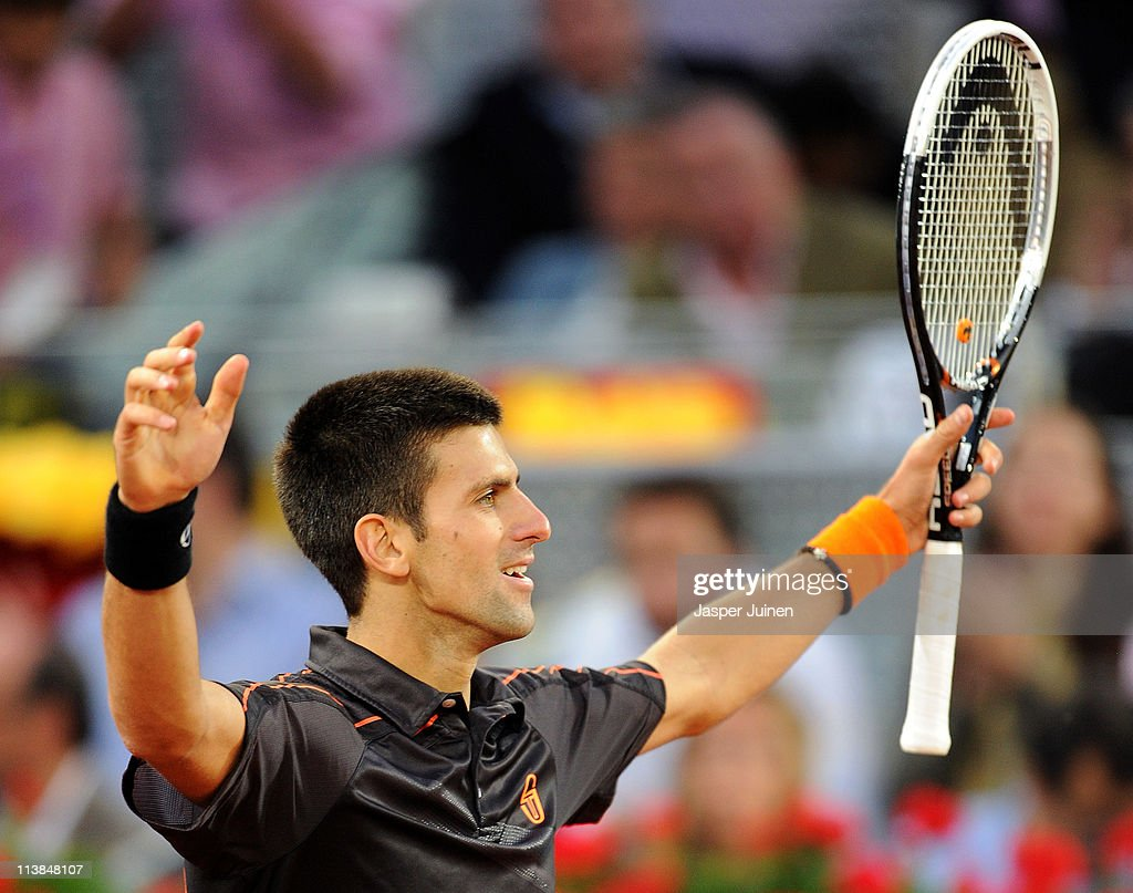Novak Djokovic of Serbia celebrates matchpoint over Rafael Nadal of Spain at the end of his final match during day eight of the Mutua Madrilena Madrid Open Tennis on May 8, 2011 in Madrid, Spain. Djokivic won the match in straight sets.