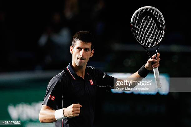 Novak Djokovic of Serbia celebrates victory against Kei Nishikori of Japan after their semi final match during day 6 of the BNP Paribas Masters held...