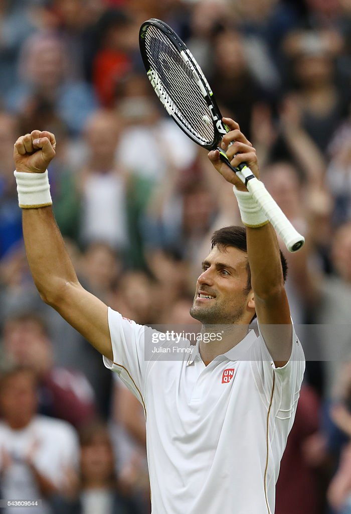 <a gi-track='captionPersonalityLinkClicked' href=/galleries/search?phrase=Novak+Djokovic&family=editorial&specificpeople=588315 ng-click='$event.stopPropagation()'>Novak Djokovic</a> of Serbia celebrates victory during the Men's Singles second round match against Adrian Mannarino of France on day three of the Wimbledon Lawn Tennis Championships at the All England Lawn Tennis and Croquet Club on June 29, 2016 in London, England.
