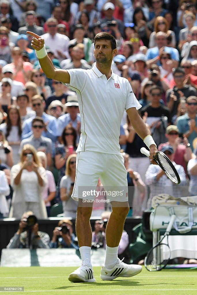 <a gi-track='captionPersonalityLinkClicked' href=/galleries/search?phrase=Novak+Djokovic&family=editorial&specificpeople=588315 ng-click='$event.stopPropagation()'>Novak Djokovic</a> of Serbia celebrates victory following the Men's Singles first round match against James Ward of Great Britain on day one of the Wimbledon Lawn Tennis Championships at the All England Lawn Tennis and Croquet Club on June 27th, 2016 in London, England.