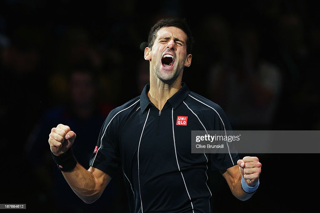 Novak Djokovic of Serbia celebrates victory in his men's singles final match against Rafael Nadal of Spain during day eight of the Barclays ATP World...