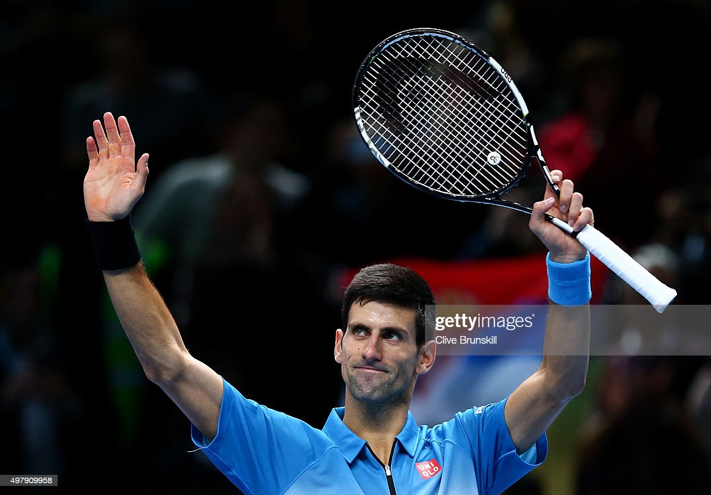 Novak Djokovic of Serbia celebrates victory in his men's singles match against Tomas Berdych of the Czech Republic during day five of the Barclays ATP World Tour Finals at the O2 Arena on November 19, 2015 in London, England.