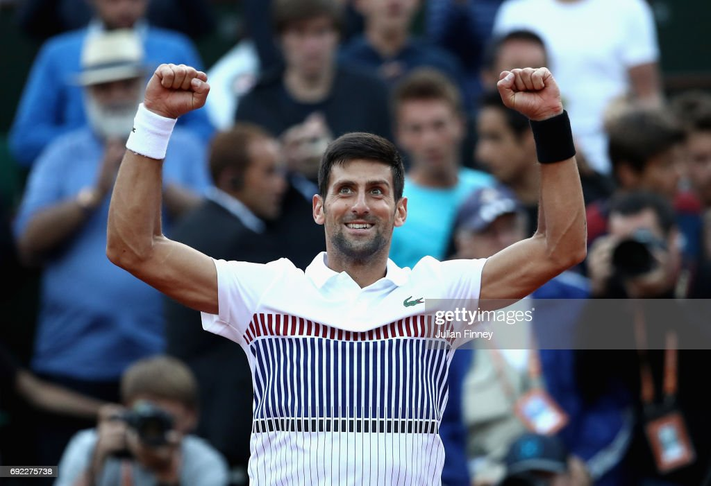 Novak Djokovic of Serbia celebrates victory in his mens singles fourth round match against Albert Ramos-Vinolas of Spain on day eight of the 2017 French Open at Roland Garros on June 4, 2017 in Paris, France.