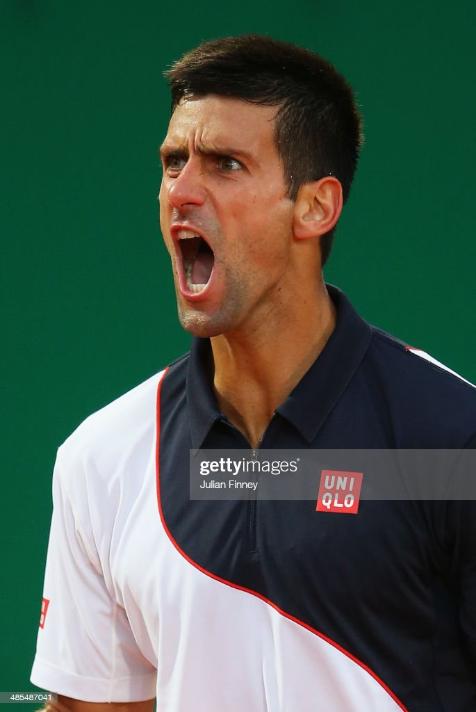 <a gi-track='captionPersonalityLinkClicked' href=/galleries/search?phrase=Novak+Djokovic&family=editorial&specificpeople=588315 ng-click='$event.stopPropagation()'>Novak Djokovic</a> of Serbia celebrates winning a point against Guillermo Garcia-Lopez of Spain during day six of the ATP Monte Carlo Rolex Masters Tennis at Monte-Carlo Sporting Club on April 18, 2014 in Monte-Carlo, Monaco.