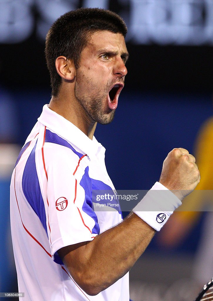 Novak Djokovic of Serbia celebrates winning a point in his quarterfinal match against Tomas Berdych of the Czech Republic during day nine of the 2011 Australian Open at Melbourne Park on January 25, 2011 in Melbourne, Australia.