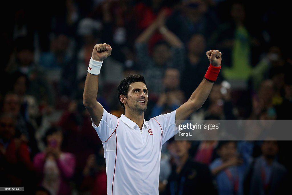 <a gi-track='captionPersonalityLinkClicked' href=/galleries/search?phrase=Novak+Djokovic&family=editorial&specificpeople=588315 ng-click='$event.stopPropagation()'>Novak Djokovic</a> of Serbia celebrates winning against Richard Gasquet of France during their men's semi-final match of the 2013 China Open at the National Tennis Center on October 5, 2013 in Beijing, China.