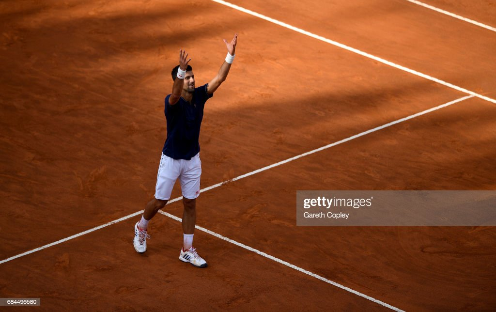 Novak Djokovic of Serbia celebrates winning his 3rd round match against Roberto Bautista of Spain in The Internazionali BNL d'Italia 2017 at Foro Italico on May 18, 2017 in Rome, Italy.