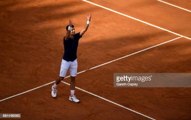 Novak Djokovic of Serbia celebrates winning his 3rd round match against Roberto Bautista of Spain in The Internazionali BNL d'Italia 2017 at Foro...