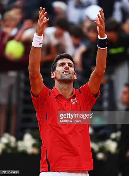 Novak Djokovic of Serbia celebrates winning his match against Rafa Nadal of Spain during day six of the The Internazionali BNL d'Italia 2016 on May...