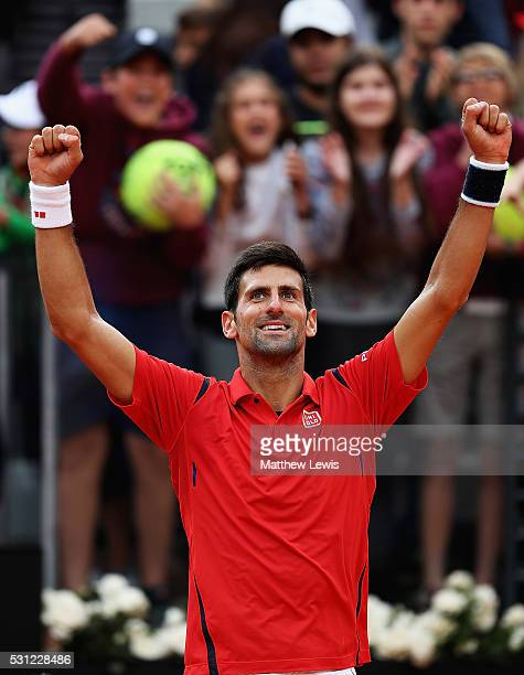Novak Djokovic of Serbia celebrates winning his match against Rafa Nadal of Spain during day six of the The Internazionali BNL d'Italia 2016 on May...