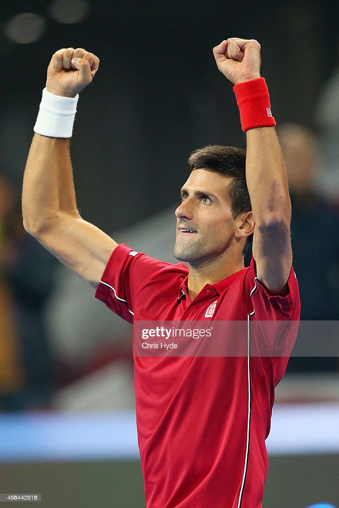 Novak Djokovic of Serbia celebrates winning his match against Vasek Pospisil of Canada during day five of of the China Open at the National Tennis Center on October 1, 2014 in Beijing, China.