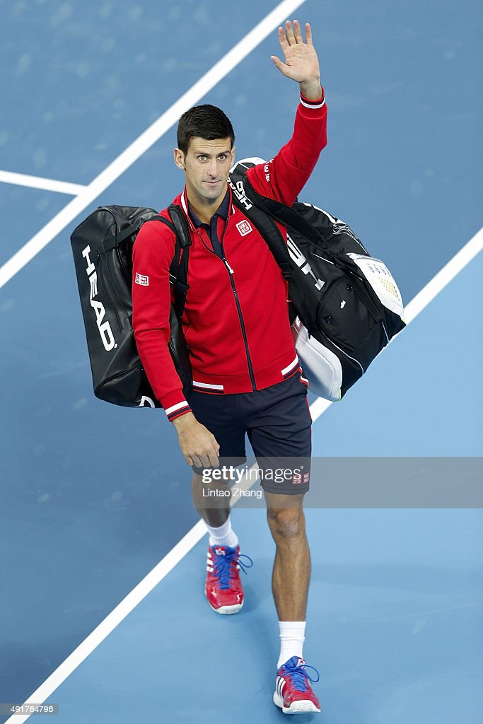 Novak Djokovic of Serbia celebrates winning his match against Zhang Ze of China during the Men's singles second round match on day six of the 2015 China Open at the China National Tennis Centre on October 8, 2015 in Beijing, China.