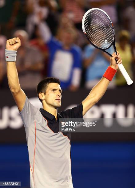 Novak Djokovic of Serbia celebrates winning match point in his third round match against Denis Istomin of Uzbekistan during day five of the 2014...