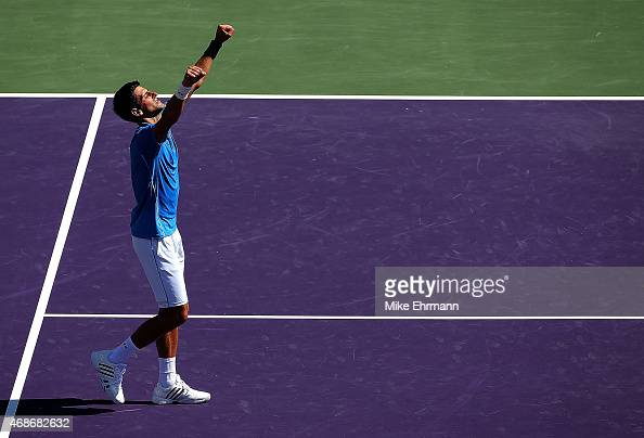 Novak Djokovic of Serbia celebrates winning the Men's Final of the Miami Open presented by Itau against Andy Murray of Great Brittain at Crandon Park...