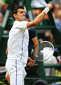Novak Djokovic of Serbia celebrates winning the second set during the Gentlemen's Singles Final match against Roger Federer of Switzerland on day...