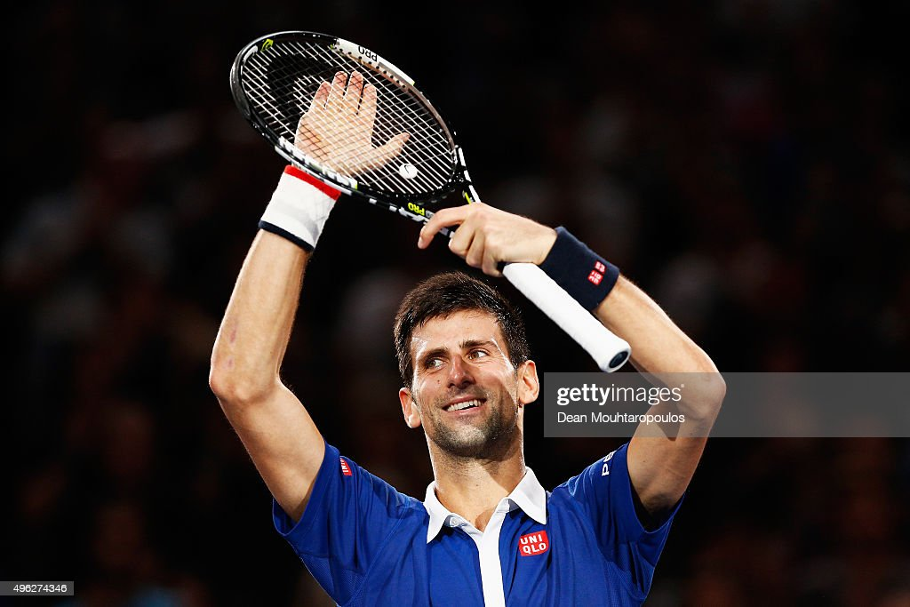 <a gi-track='captionPersonalityLinkClicked' href=/galleries/search?phrase=Novak+Djokovic&family=editorial&specificpeople=588315 ng-click='$event.stopPropagation()'>Novak Djokovic</a> of Serbia celebrtes after victory against Andy Murray of Great Britain after their Mens Final match during Day 7 of the BNP Paribas Masters held at AccorHotels Arena on November 8, 2015 in Paris, France.