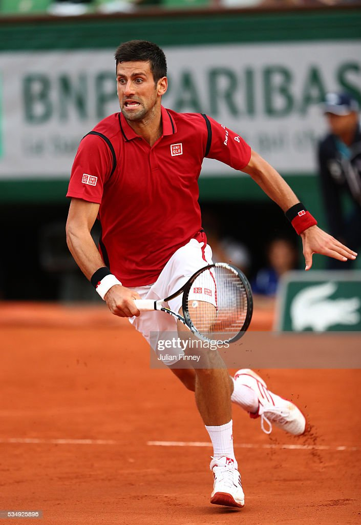 <a gi-track='captionPersonalityLinkClicked' href=/galleries/search?phrase=Novak+Djokovic&family=editorial&specificpeople=588315 ng-click='$event.stopPropagation()'>Novak Djokovic</a> of Serbia chases down the ball during the Men's Singles third round match against Aljaz Bedene of Great Britain on day seven of the 2016 French Open at Roland Garros on May 28, 2016 in Paris, France.