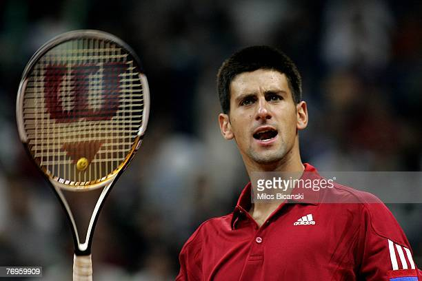 Novak Djokovic of Serbia during day two of the Davis Cup world group playoff tie between Serbia and Australia at Belgrade Arena September 22 2007 in...