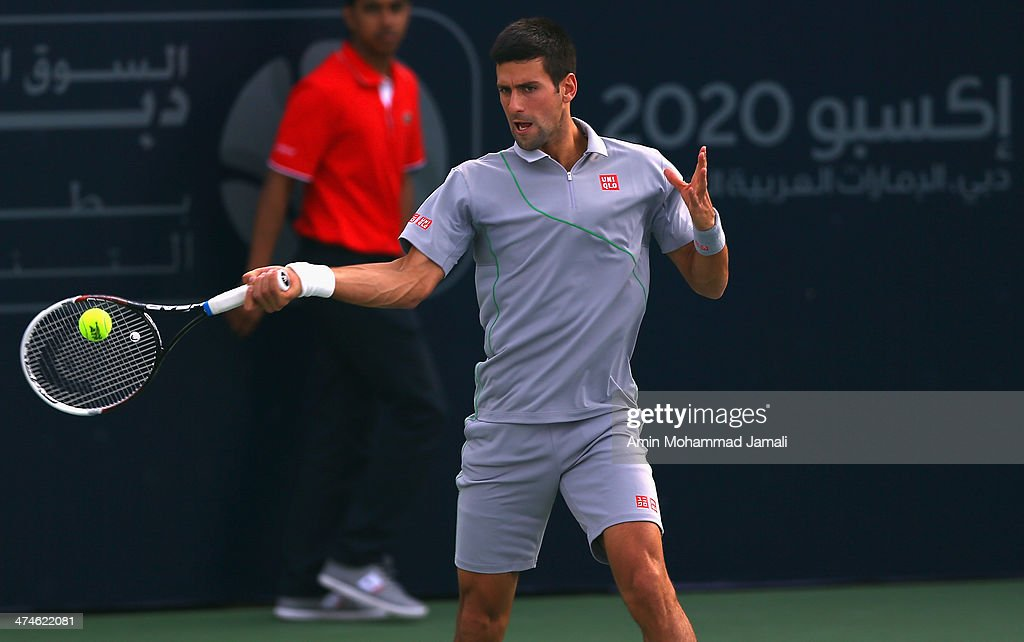 Novak Djokovic of Serbia during his doubles match with Carlos Gomez- Herrera of Spain against Tomasz Bednarek of Poland and Lukas Dlouhy of Czech Republic during the ATP Dubai Duty Free Tennis Championship on February 24, 2014 in Dubai, United Arab Emirates.