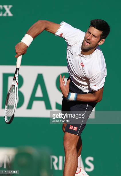 Novak Djokovic of Serbia during his quarter final on day 6 of the MonteCarlo Rolex Masters an ATP Tour Masters Series 1000 on the clay courts of the...