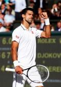 Novak Djokovic of Serbia during the Gentlemen's Singles Final match against Roger Federer of Switzerland on day thirteen of the Wimbledon Lawn Tennis...