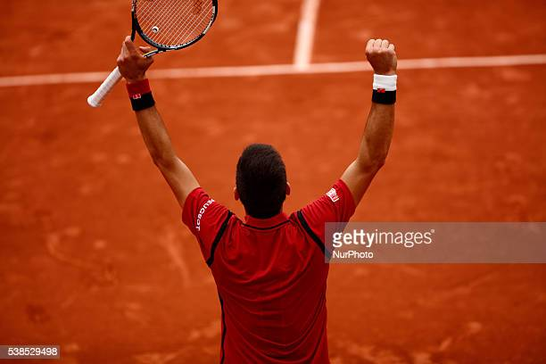 Novak Djokovic of Serbia during the Men's Singles semi final match against Dominic Thiem of Austria on day thirteen of the 2016 French Open at Roland...