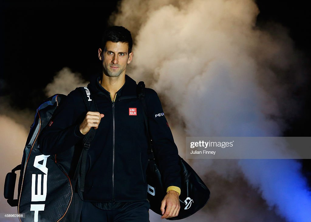 <a gi-track='captionPersonalityLinkClicked' href=/galleries/search?phrase=Novak+Djokovic&family=editorial&specificpeople=588315 ng-click='$event.stopPropagation()'>Novak Djokovic</a> of Serbia enters the court for the round robin singles match against Tomas Berdych of Czech Republic on day six of the Barclays ATP World Tour Finals at O2 Arena on November 14, 2014 in London, England.