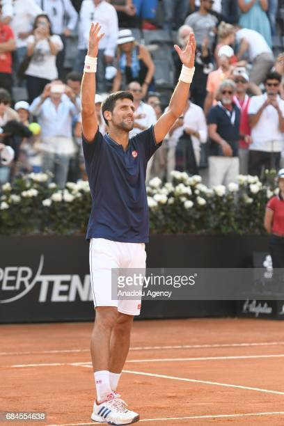 Novak Djokovic of Serbia gestures during his Men's Single Match against Roberto Bautista Agut of Spain during the Internazionali BNL d'Italia 2017 at...
