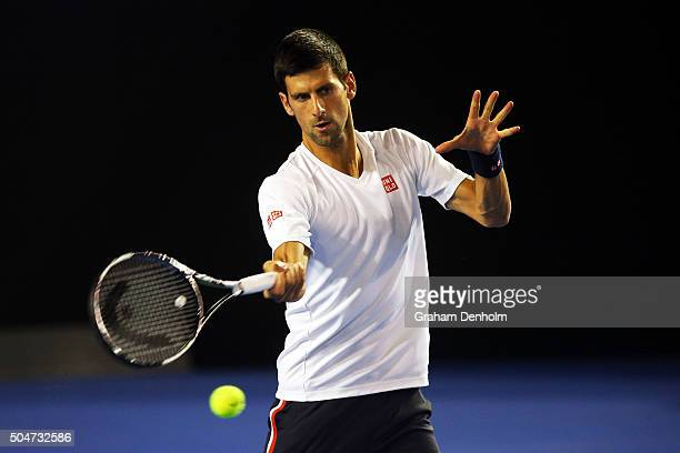 Novak Djokovic of Serbia hits a forehand during a practice session ahead of the 2016 Australian Open at Melbourne Park on January 13 2016 in...