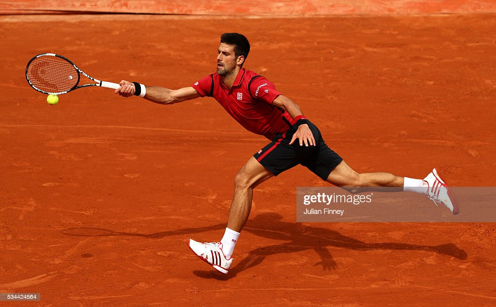 <a gi-track='captionPersonalityLinkClicked' href=/galleries/search?phrase=Novak+Djokovic&family=editorial&specificpeople=588315 ng-click='$event.stopPropagation()'>Novak Djokovic</a> of Serbia hits a forehand during the Men's Singles second round match against Steve Darcis of Belgium on day five of the 2016 French Open at Roland Garros on May 26, 2016 in Paris, France.