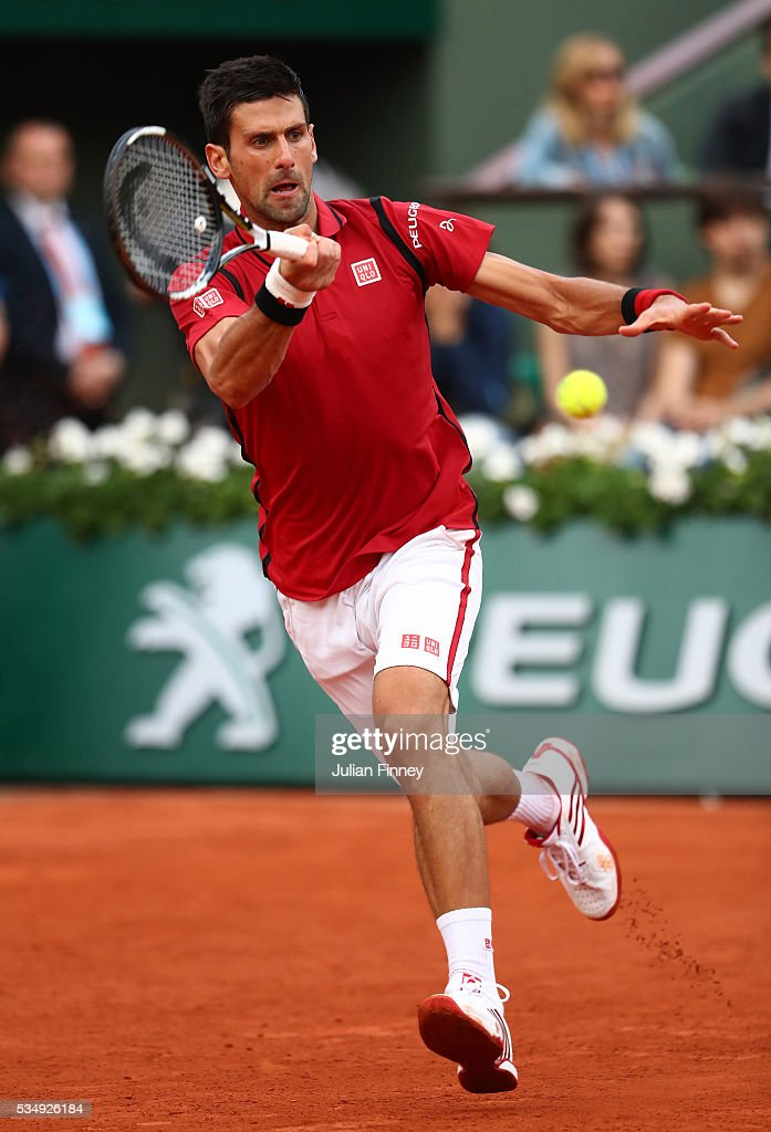 <a gi-track='captionPersonalityLinkClicked' href=/galleries/search?phrase=Novak+Djokovic&family=editorial&specificpeople=588315 ng-click='$event.stopPropagation()'>Novak Djokovic</a> of Serbia hits a forehand during the Men's Singles third round match against Aljaz Bedene of Great Britain on day seven of the 2016 French Open at Roland Garros on May 28, 2016 in Paris, France.