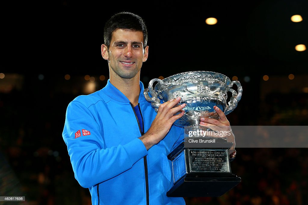 <a gi-track='captionPersonalityLinkClicked' href=/galleries/search?phrase=Novak+Djokovic&family=editorial&specificpeople=588315 ng-click='$event.stopPropagation()'>Novak Djokovic</a> of Serbia holds the Norman Brookes Challenge Cup after winning his men's final match against Andy Murray of Great Britain during day 14 of the 2015 Australian Open at Melbourne Park on February 1, 2015 in Melbourne, Australia.